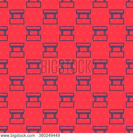 Blue Line Ticket Box Office Icon Isolated Seamless Pattern On Red Background. Ticket Booth For The S