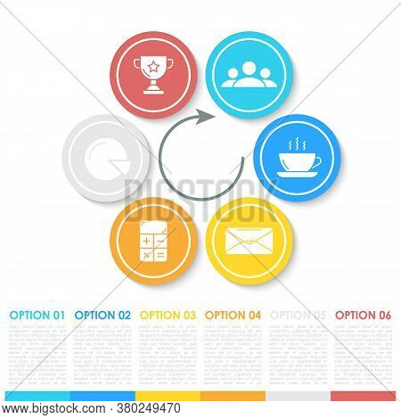 Business Infographics With Arrow. Template With 6 Steps, Options Or Elements. Can Be Used For Diagra