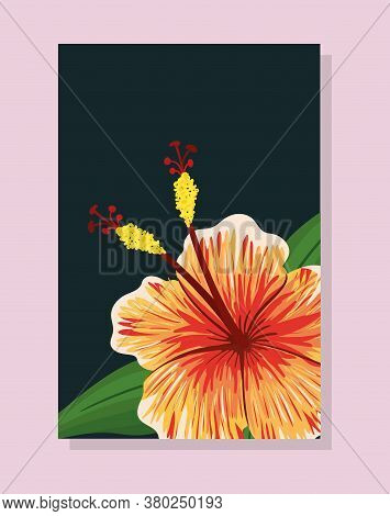 Orange Hawaiian Flower With Leaves Painting Design, Natural Floral Nature Plant Ornament Garden Deco