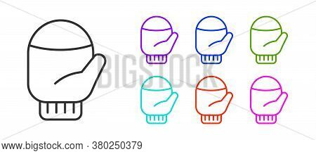 Black Line Christmas Mitten Icon Isolated On White Background. Set Icons Colorful. Vector