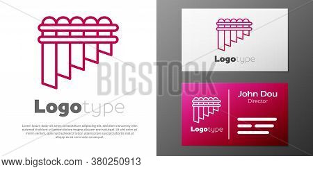 Logotype Line Pan Flute Icon Isolated On White Background. Traditional Peruvian Musical Instrument.