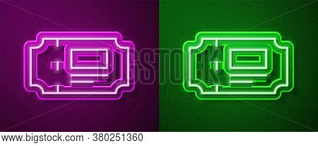 Glowing Neon Line Museum Ticket Icon Isolated On Purple And Green Background. History Museum Ticket