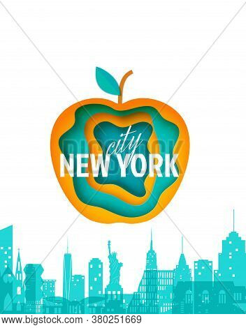 New York Landscape And Layered Apple Form In Paper Cut Style. Cut Out Silhouette Skyscraper, Statue