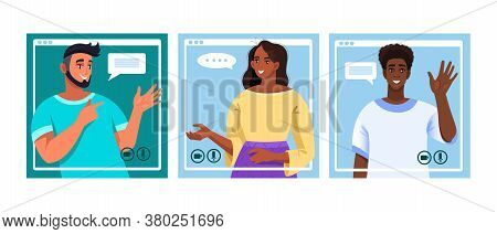Virtual Meeting Vector Illustration With Young Smiling People Communicating Online. Video Call Conce