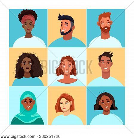 Video conference illustration with diverse peoples' faces. Group video call concept in flat style with black, white, muslim men and women. Business online conference poster with avatars
