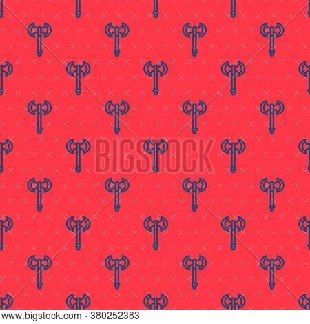 Blue Line Medieval Axe Icon Isolated Seamless Pattern On Red Background. Battle Axe, Executioner Axe