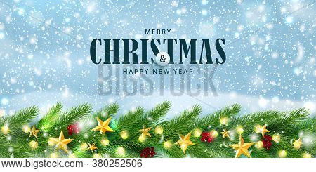 Merry Christmas And Happy New Year Horizontal Banner. Winter Background With Season Wishes And Borde
