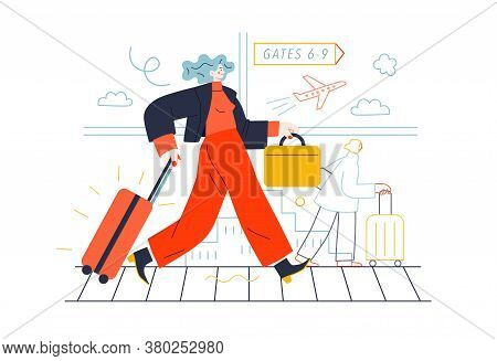 Business Topics - Business Trip. Flat Style Modern Outlined Vector Concept Illustration. A Young Wom