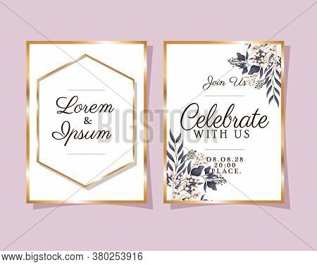 Two Wedding Invitations With Gold Frames Flowers And Leaves On Pink Background Design, Save The Date
