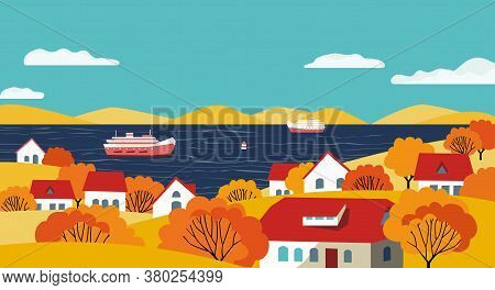 Autumn Rural Valley Landscape Flat Color Vector. River Village Fall Season Scenic View Poster. Town