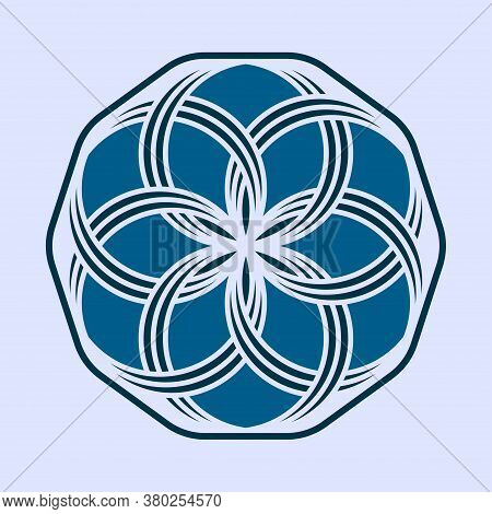 Flower Logo Template. White Blue Ornament For Decoration Design. Commodity Brand. Stylish Symbol Of