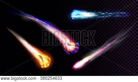 Falling Comets, Asteroids Or Meteors With Flame Trail Isolated On Transparent Background. Vector Rea