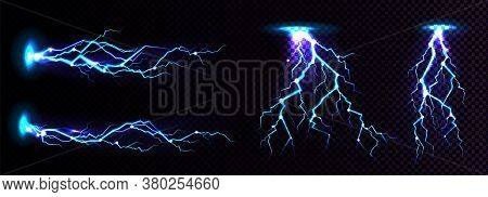 Electric Lightning Strike, Impact Place, Plasma Or Magical Energy Flash In Blue Color Isolated On Bl