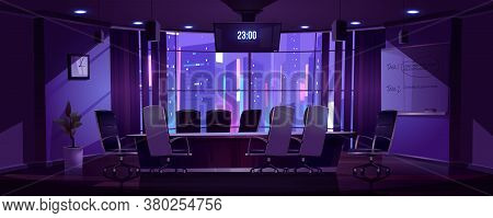 Conference Room For Business Meetings, Presentation For Team, Discussion Or Training At Night. Vecto