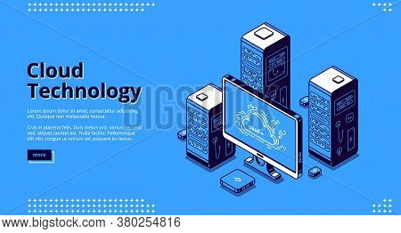 Cloud Technology Banner. Concept Of Digital Information Storage And Network System. Vector Landing P