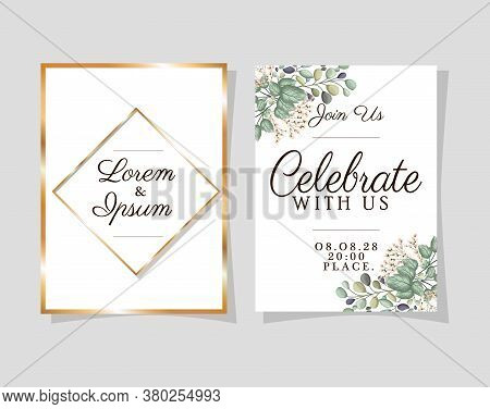 Two Wedding Invitations With Gold Frames Flowers And Leaves On Blue Background Design, Save The Date
