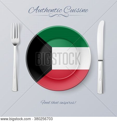 Authentic Cuisine Of Kuwait. Plate With Kuwaiti Flag And Cutlery