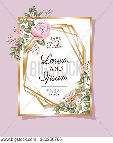 Save The Date Text In Gold Frame With Rose Flower And Leaves Design, Wedding Invitation And Engageme