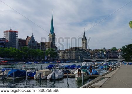 Zurich, Switzerland- August 22, 2010: Panoramic View Of Historic Zurich City Center With Famous Frau