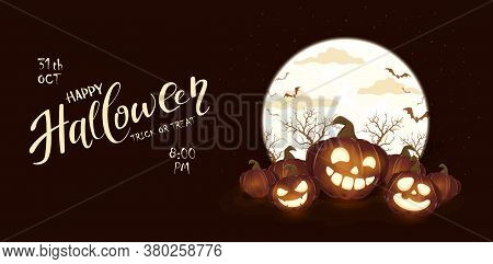Banner With Halloween Pumpkins And Moon On Black Night Background. Holiday Card With Jack O' Lantern