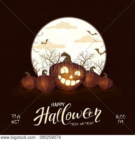 Halloween Pumpkins And Moon On Black Night Background. Holiday Lettering With Jack O' Lanterns And B