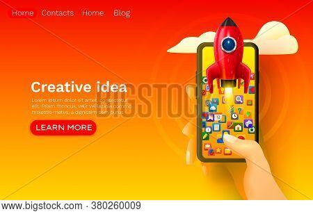 Creative Idea Rocket Space, Mobile Start-up, Web Site Banner Design. Vector