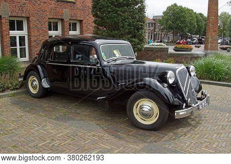 Medemblik, The Netherlands - July 22, 2020: Black Citroën Traction Avant 15 Six Parked On A Public P
