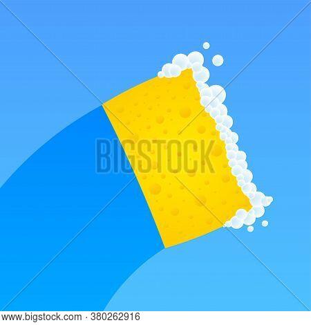 Dishwashing, Washing Dishes. Dishwashing Liquid, Dishes And Yellow Sponge. Vector Stock Illustration