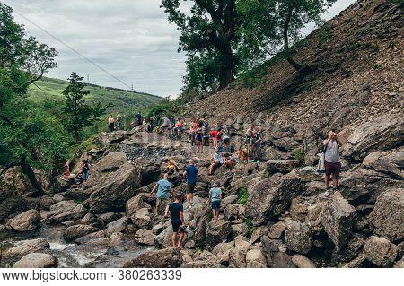 Gwynedd, Wales, Uk - 30 July, 2020 Crowd Of People At Aber Falls Or In Welsh Rhaeadr Fawr . This Wat