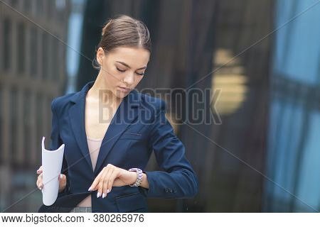 Beautiful Businesswoman In Formal Suit, Jacket, Attractive Woman In Hurry, Young Girl , Pretty Lady