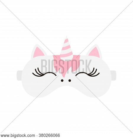 Cute Unicorn Sleep Mask Icon. Eye Protection Wear Accessory. Relaxation Blindfold With Unicorn Face