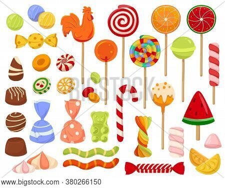 Large Set Of Colorful Candy And Sweets Icons With Lollipops, Chocolates Candy Canes And Assorted Sha