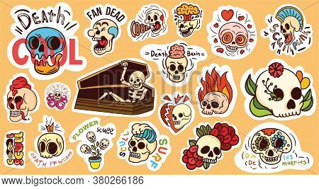 Large Set Of Colorful Skull Stickers Or Badges And A Skeleton In A Coffin With Assorted Text, Colore