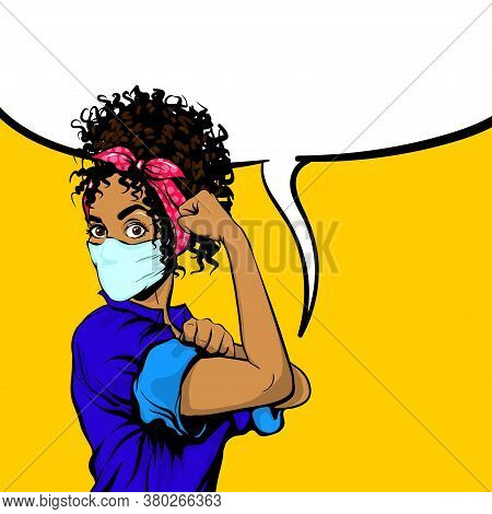 We Can Do It Black African Woman In Medical Mask Retro Poster. Cartoon Vintage Girl With Pink Bow In