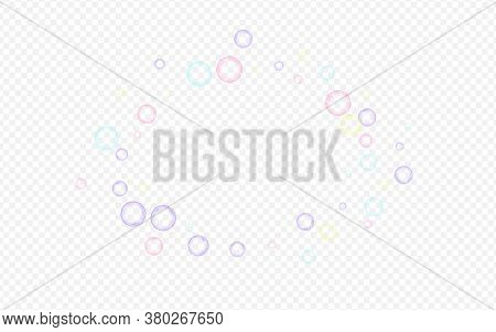 White 3d Circle Liquid Transparent Background. Air Round Sphere Card. Rainbow Effect Soapy Ball Text