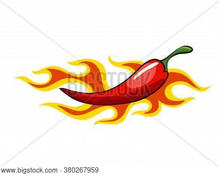 Hand Drawn Chili Pepper. Super Hot Red Chilli Pepper In Fire. Chili Pepper In Flame On White Backgro