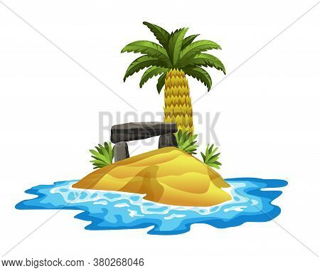 Tropical Island. Tropical Coast With Palm Trees And Sea Waves. The Sandy Beach On The Seashore. Rest
