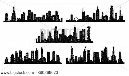 Collection Of City Silhouettes. Modern Urban Landscape. Cityscape Buildings Silhouette On Transparen