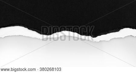 Ripped black paper on plain background, space for copy