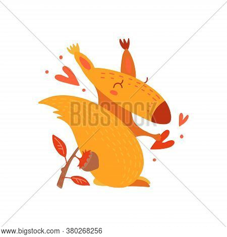 Funny, Comic, Cute Squirrel. Cartoon Hand Drawn Character. Forest Animal In Love. Yellow Squirrel Wi