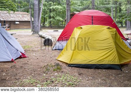 Tents At A Campsite On A Campground In Summer