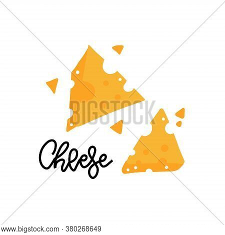 Pieces Of Yellow Cheese With Holes And Lettering. Farm Natural Milk Product. Doodle Drawing Of A Foo