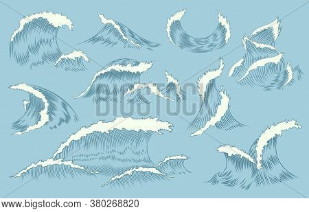 Collection Of Waves Engraving. Marine And Nautical Or Ocean Waves Background For Banner Or Poster. H