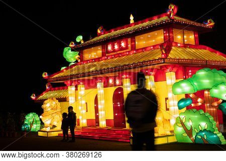 Taichung City, Taiwan - Feb 19rd, 2020: lantern festival with tourists and lanterns at Houli Horse Ranch in Taichung City, Taiwan, Asia