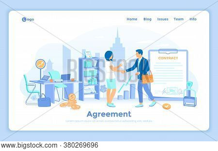 Agreement, Partnership, Sponsoring, Business Idea, Startup, Success Deal. Business People Shaking Ha