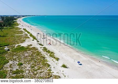 An Aerial View Of The Beautiful White Sand Beach On Anna Maria Island, Florida. View South Down The