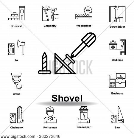 Shovel Outline Icon. Set Of Labor Day Illustration Icon. Signs And Symbols Can Be Used For Web, Logo