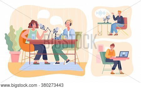 Assorted Scenes Of People Recording A Podcast With A Couple Working Together And Individual Man And