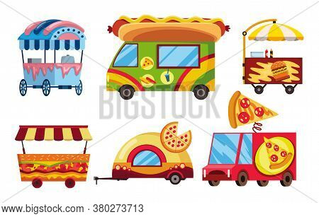 Street Fast Food. Set Of Mobile Food Cars. Pizza, Hamburger And Hot Dog Fast Food Street Shops. Stre