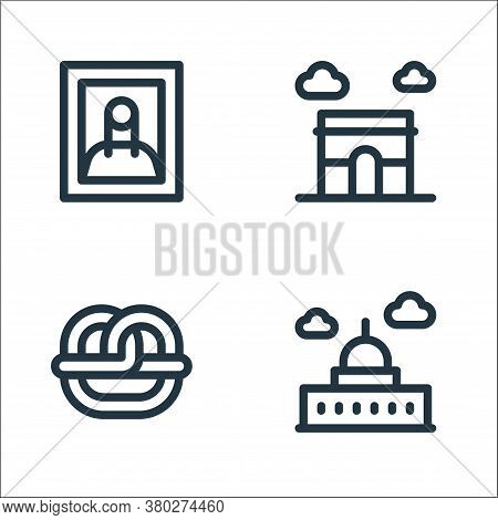 Europe Line Icons. Linear Set. Quality Vector Line Set Such As Saint Paul Cathedral, Pretzel, Arc De
